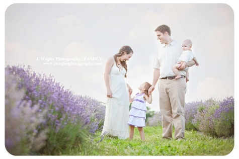 Ohio family photographer, family portrait in field of lavender