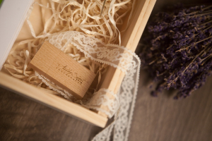 USB packaging with lavender and lace by Ashley Short Photography in Northwest Ohio.  Feminine and organic style.