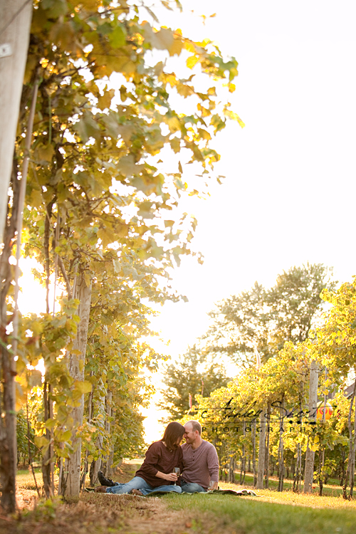 romantic photo of couple drinking wine in vineyard in wauseon ohio, photo by ashley short photography in Archbold ohio.