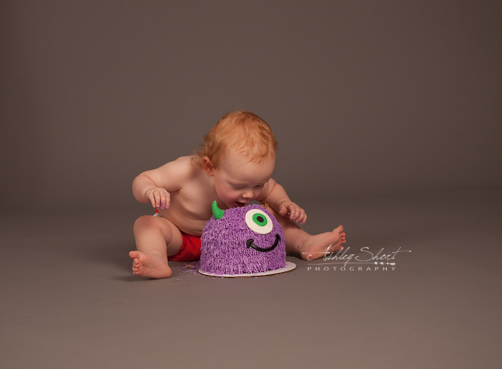one year old cake smash portrait session. one year old bites into the purple little monsters themed cake.